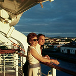Pat and Anthony enjoy the sunset on the boat