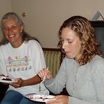 Susan and Erin enjoy the cake