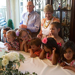 Pat's 90th Bday; cake with great-grandchildren