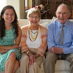 Pat's 90th; with FIRST great grandchild Miranda